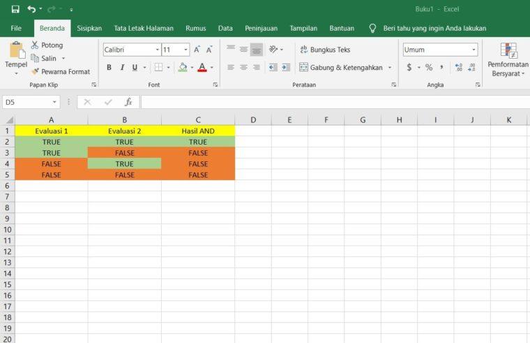 Tabel Fungsi AND Dengan 2 Kondisi Evaluasi