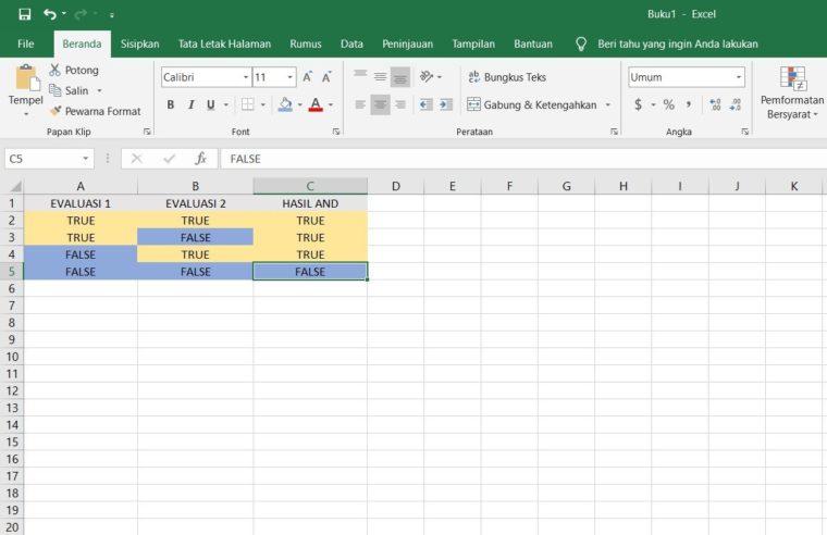 Tabel Fungsi OR dengan 2 Kondisi Evaluasi