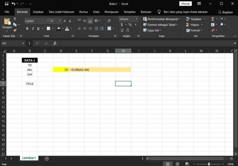 Catatan ke-1 Penggunaan Rumus SUM Excel