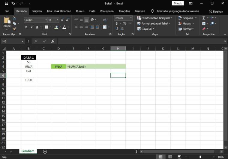 Catatan ke-2 Penggunaan Rumus SUM Excel