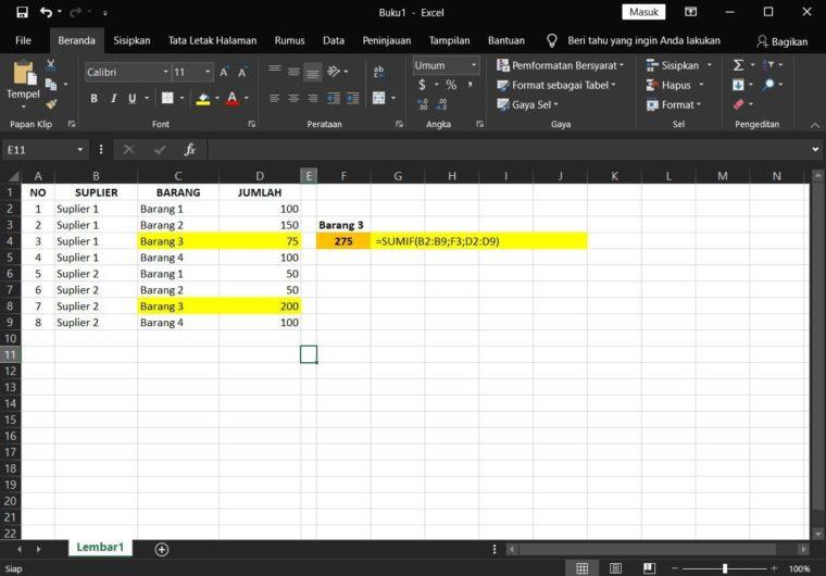Contoh Berikutnya Rumus SUMIF Excel Kedua