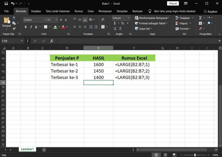 Contoh Hasil ke-1 Penggunaan Rumus LARGE Excel