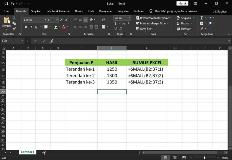 Contoh Hasil ke-1 Penggunaan Rumus SMALL Excel
