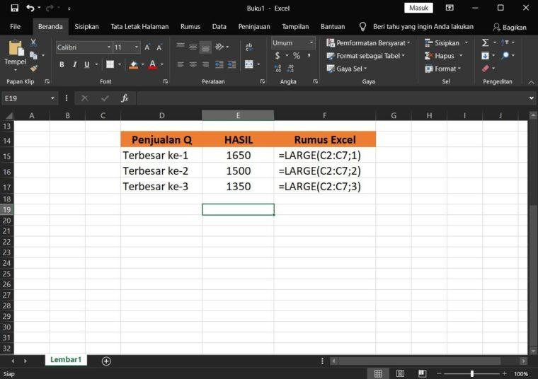 Contoh Hasil ke-2 Penggunaan Rumus LARGE Excel