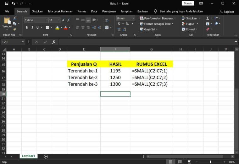 Contoh Hasil ke-2 Penggunaan Rumus SMALL Excel