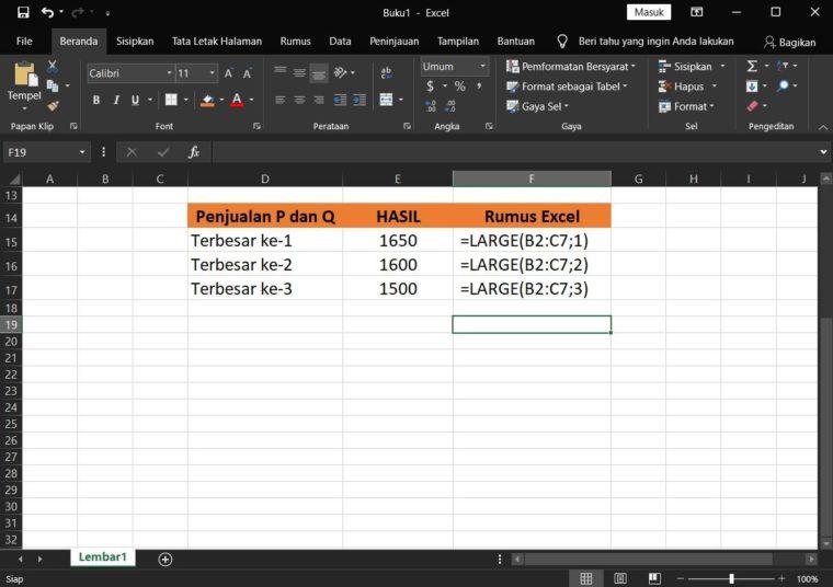 Contoh Hasil ke-3 Penggunaan Rumus LARGE Excel