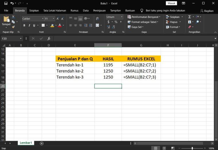 Contoh Hasil ke-3 Penggunaan Rumus SMALL Excel