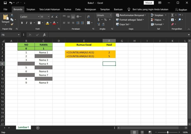 Contoh Penggunaan Fungsi COUNTBLANK Excel