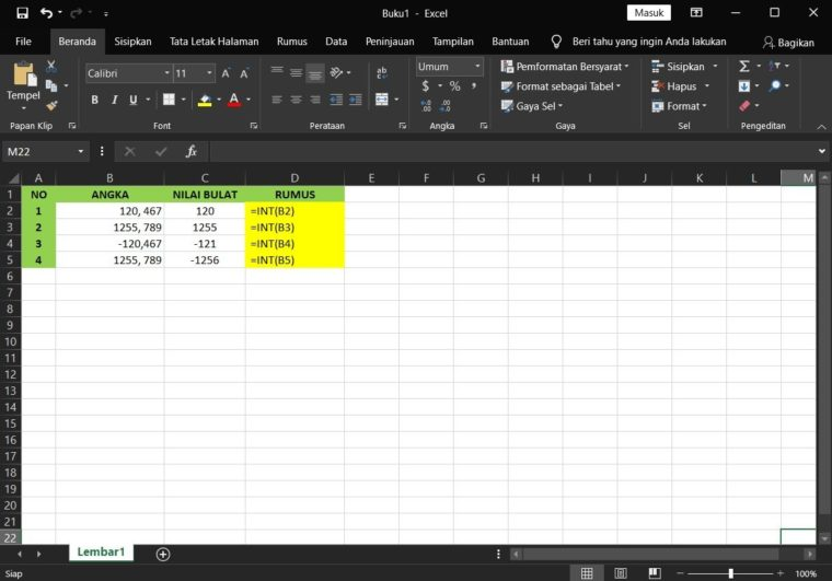 Contoh Penggunaan Fungsi INT Excel