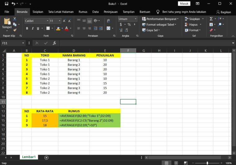 Contoh Penggunaan Rumus AVERAGEIF Excel