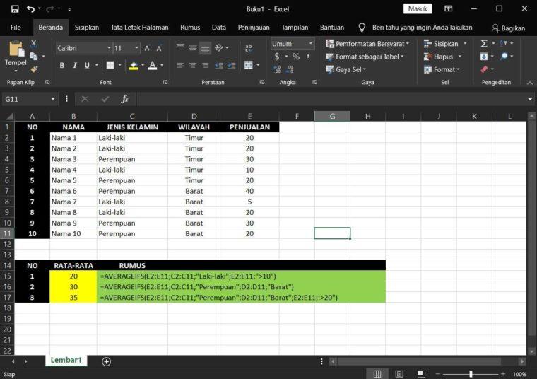Contoh Penggunaan Rumus AVERAGEIFS Excel