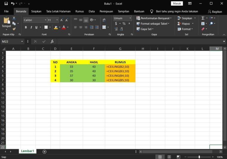 Contoh Penggunaan Rumus CEILING Excel
