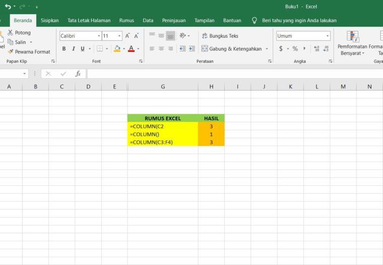 Contoh Penggunaan Rumus COLUMN Excel
