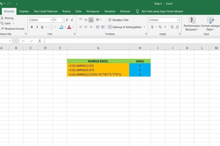 Contoh Penggunaan Rumus COLUMNS Excel