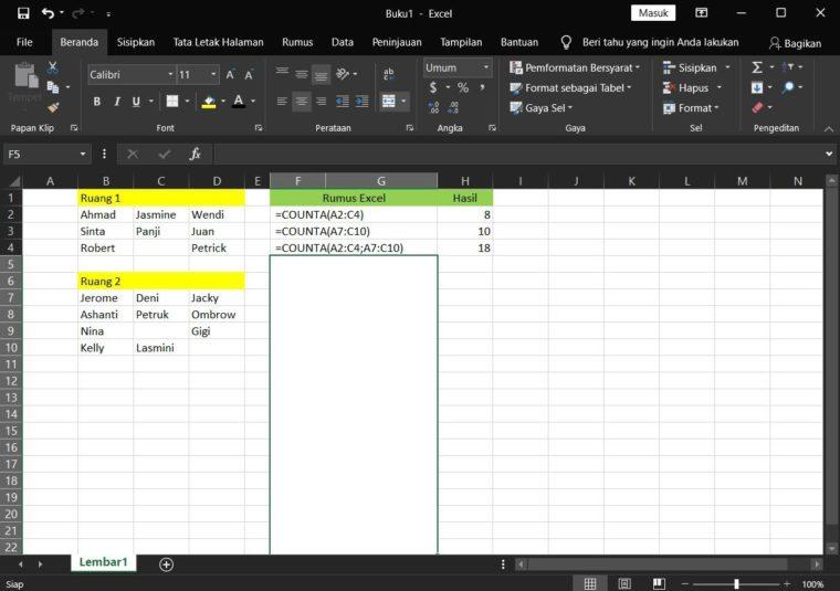 Contoh Penggunaan Rumus COUNTA Excel