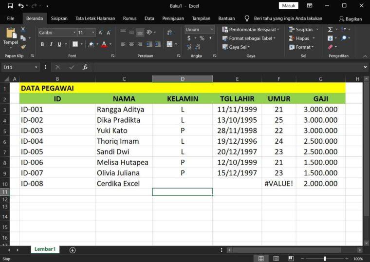 Contoh Penggunaan Rumus DAVERAGE Excel