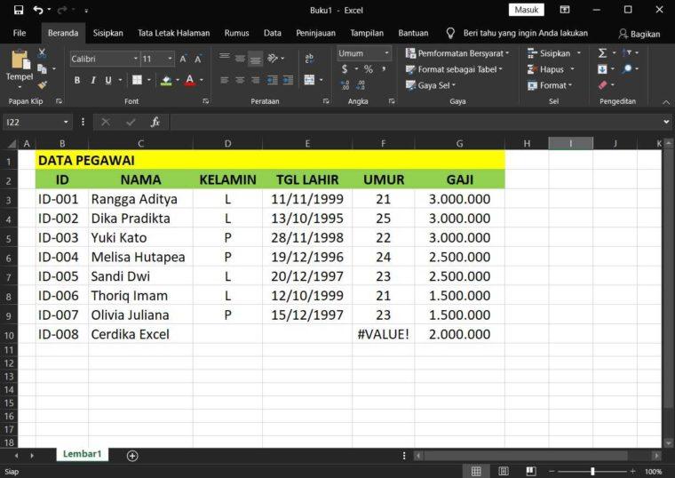 Contoh Penggunaan Rumus DSUM Excel