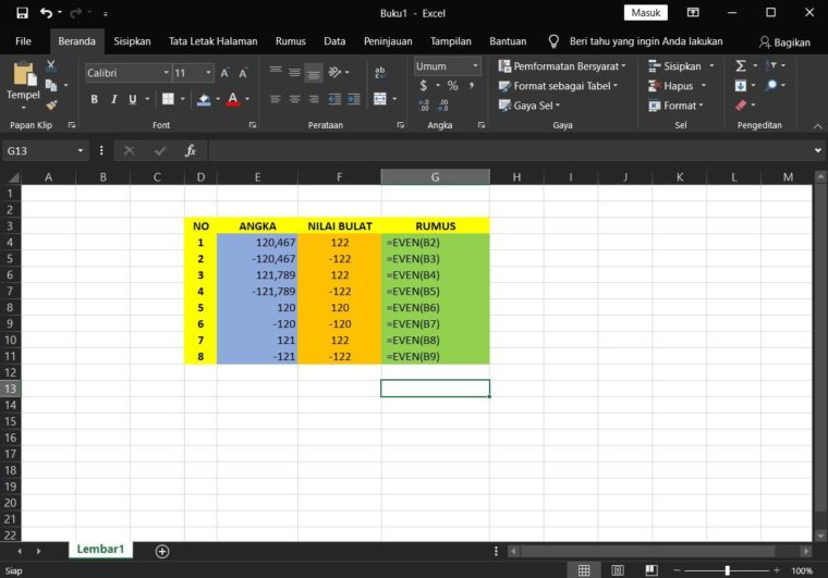 Contoh Penggunaan Rumus EVEN Excel