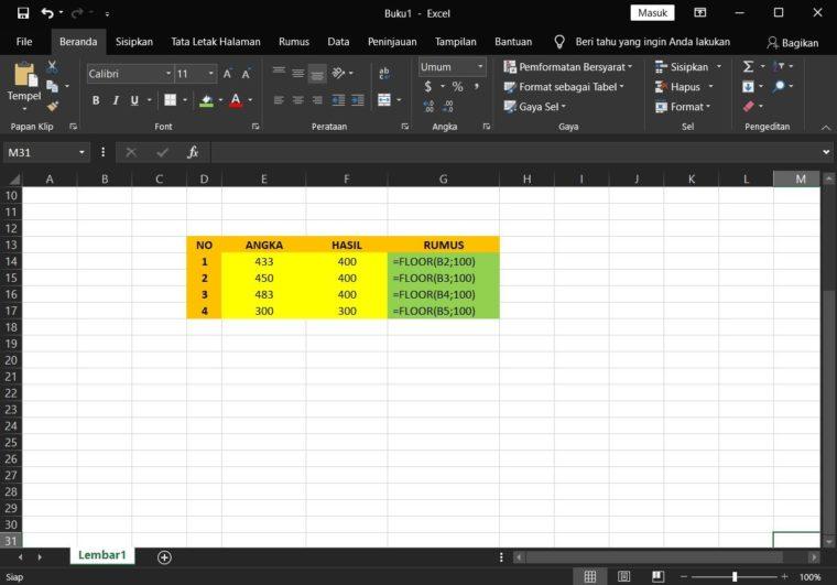 Contoh Penggunaan Rumus FLOOR Excel