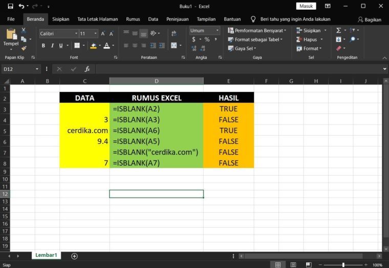 Contoh Penggunaan Rumus ISBLANK Excel