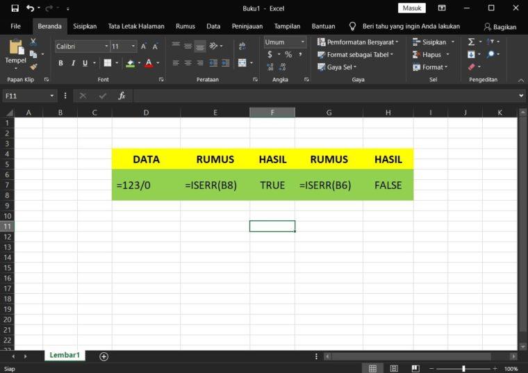 Contoh Penggunaan Rumus ISERR Excel
