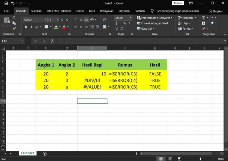 Contoh Penggunaan Rumus ISERROR Excel