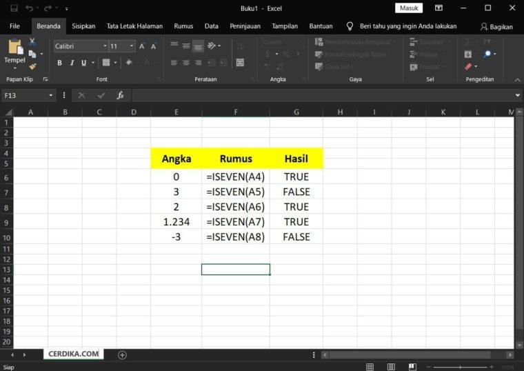 Contoh Penggunaan Rumus ISEVEN Excel