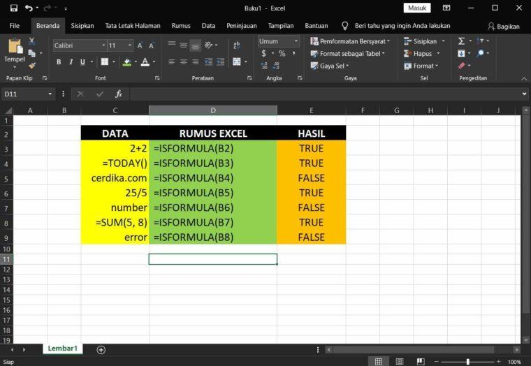 Contoh Penggunaan Rumus ISFORMULA Excel