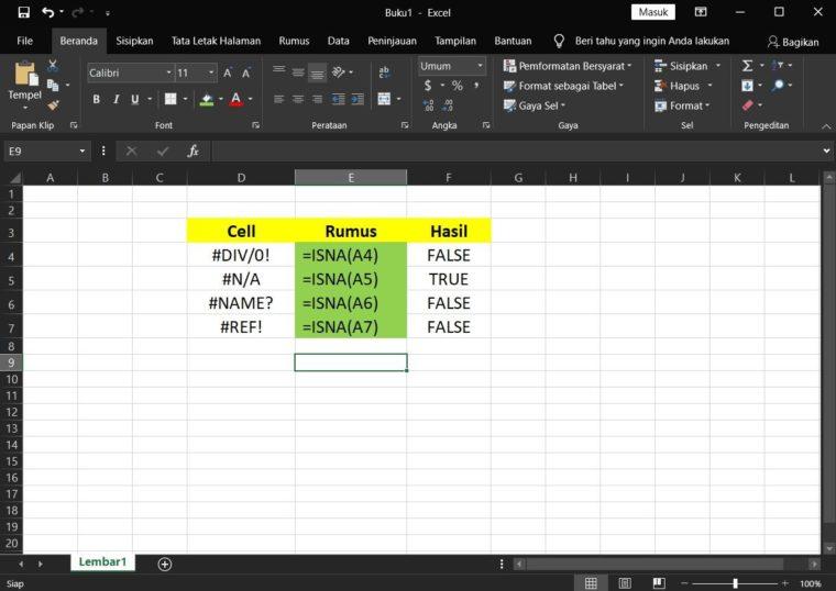 Contoh Penggunaan Rumus ISNA Excel