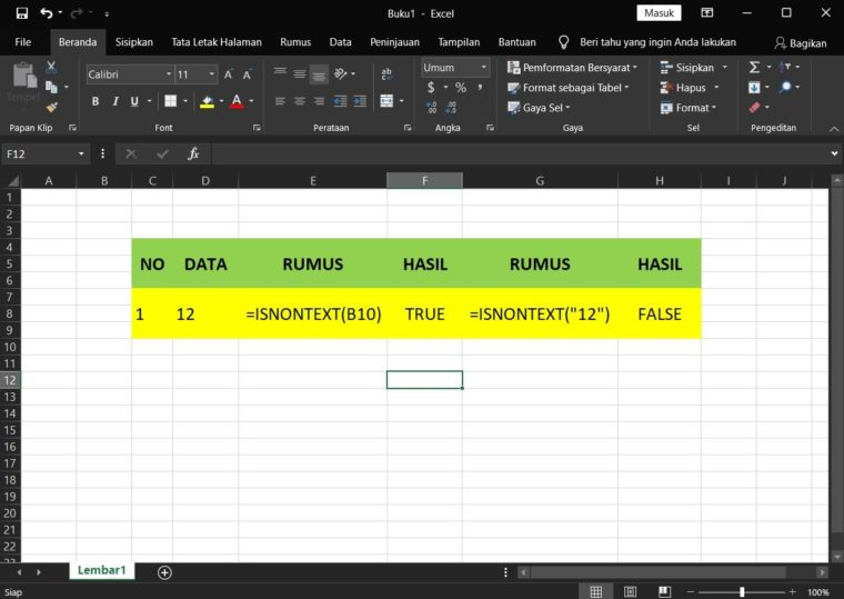 Contoh Penggunaan Rumus ISNONTEXT Excel