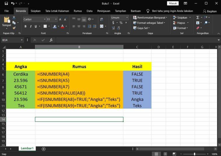 Contoh Penggunaan Rumus ISNUMBER Excel