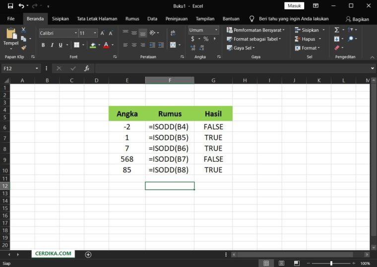 Contoh Penggunaan Rumus ISODD Excel