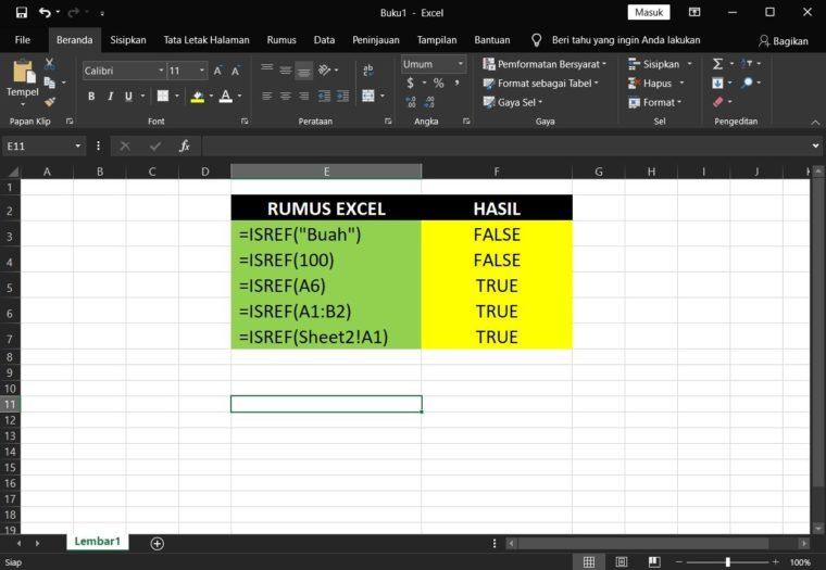 Contoh Penggunaan Rumus ISREF Excel