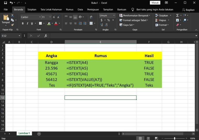Contoh Penggunaan Rumus ISTEXT Excel
