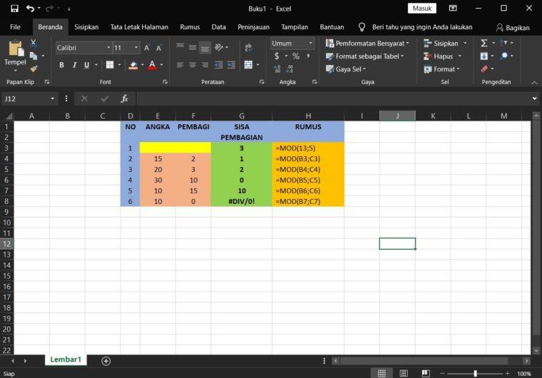 Contoh Penggunaan Rumus MOD Excel