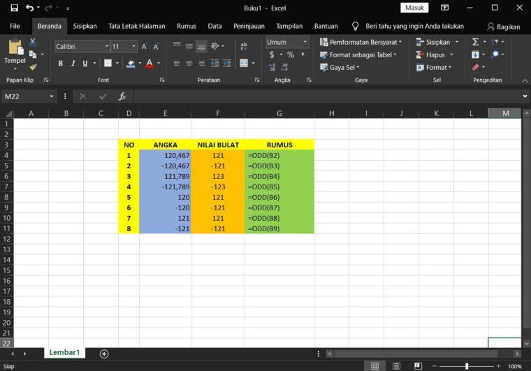 Contoh Penggunaan Rumus ODD Excel