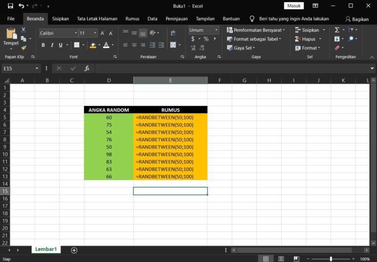 Contoh Penggunaan Rumus RANDBETWEEN Excel
