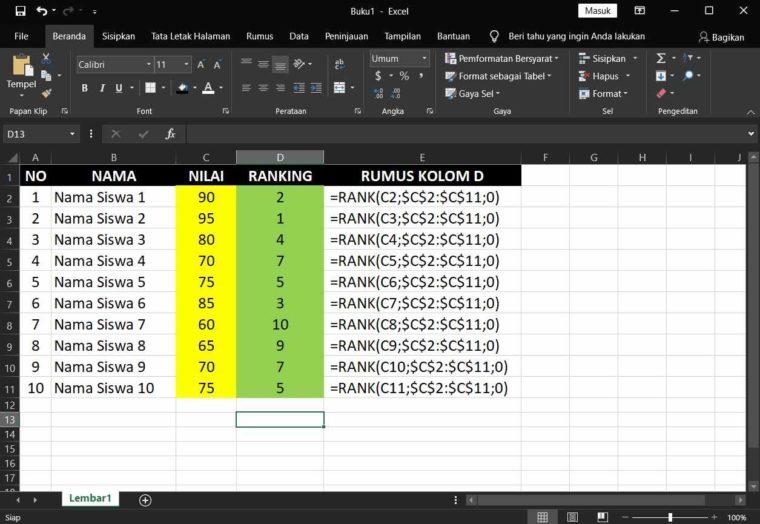 Contoh Penggunaan Rumus RANK Excel