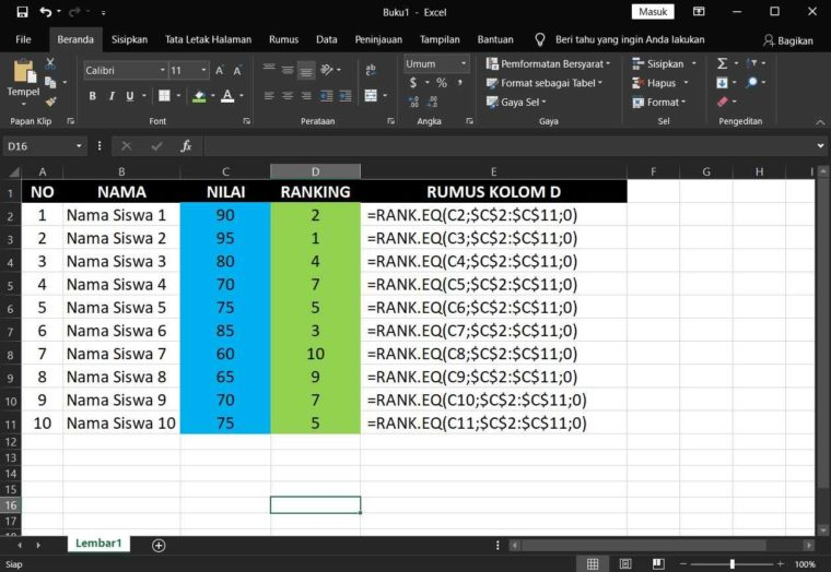 Contoh Penggunaan Rumus RANK.EQ Excel