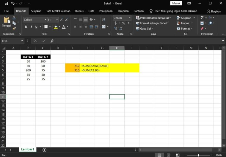 Contoh Rumus SUM Excel Kedua