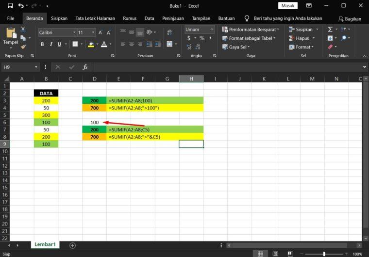 Contoh Rumus SUMIF Excel Pertama