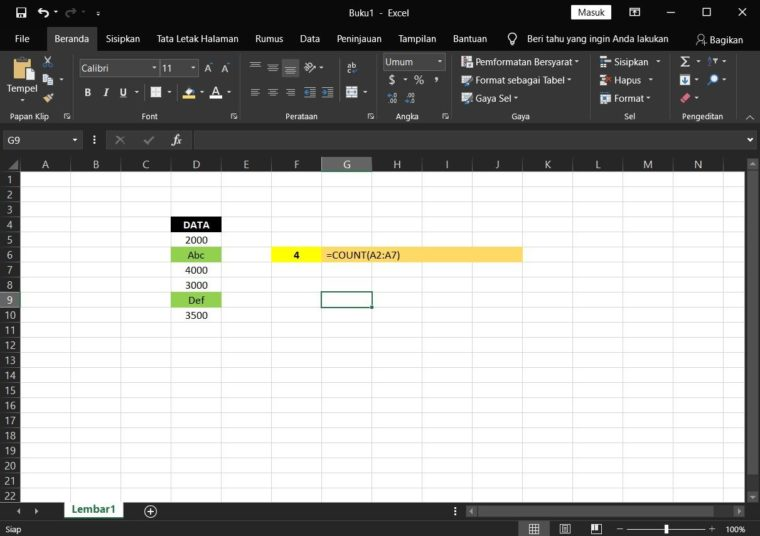 Contoh ke-1 Penggunaan Rumus COUNT Excel