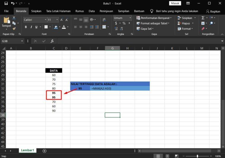 Contoh ke-1 Penggunaan Rumus MAX Excel