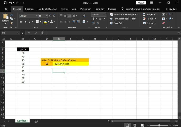 Contoh ke-1 Penggunaan Rumus MIN Excel