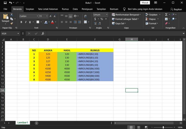 Contoh ke-1 Penggunaan Rumus MROUND Excel