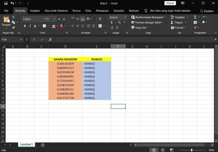 Contoh ke-1 Penggunaan Rumus RAND Excel