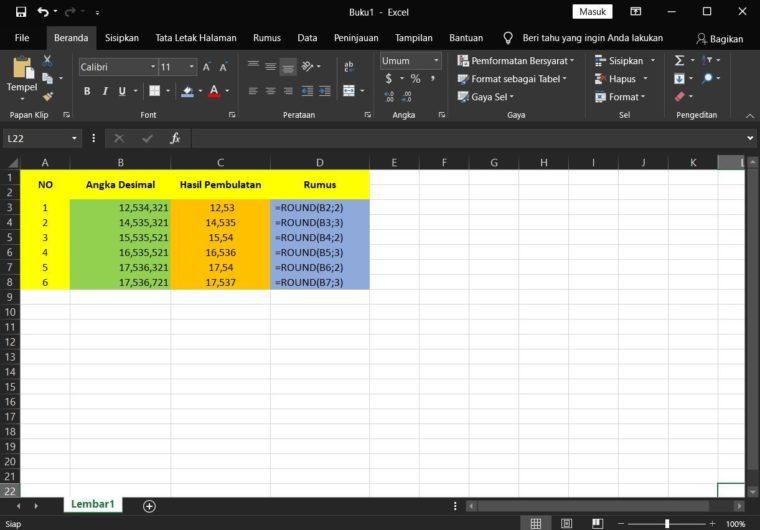 Contoh ke-1 Penggunaan Rumus ROUND Excel