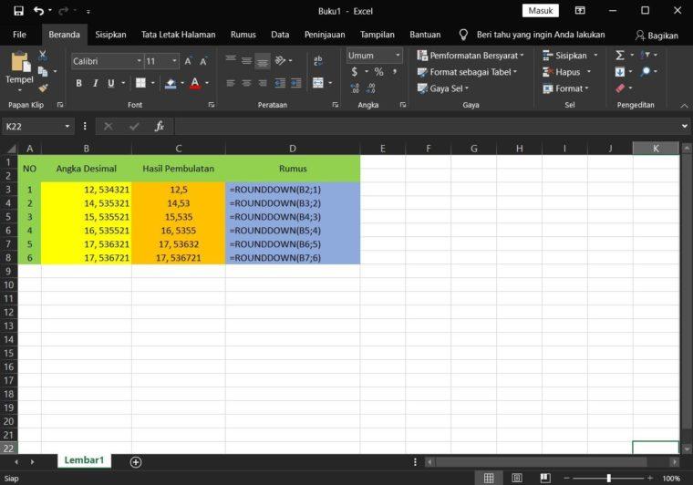 Contoh ke-1 Penggunaan Rumus ROUNDDOWN Excel
