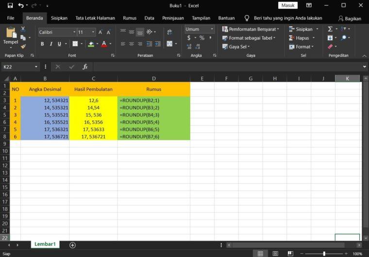 Contoh ke-1 Penggunaan Rumus ROUNDUP Excel