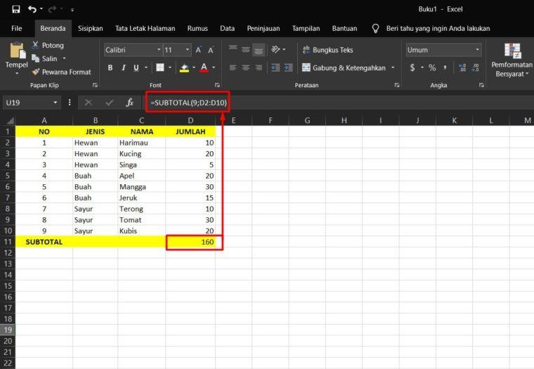 Contoh ke-1 Penggunaan Rumus SUBTOTAL Excel